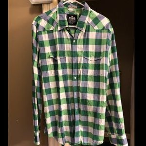 Express Plaid Fitted Button Down Flannel Shirt